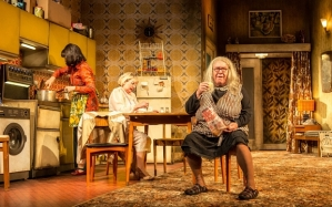 Maureen Beattie, Barbara Rafferty and Gregor Fisher in Yer Granny  Photo: Manuel Harlan