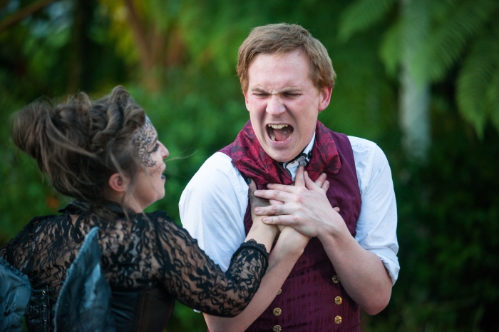 Adam Donaldson as Faustus and Stephanie McGregor as Mephistopheles in Bard in the Botanics production of Dr Faustus (3) credit Tommy Ga-Ken Wan