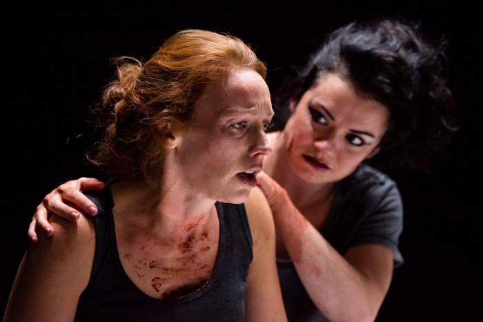 Macbeths #1 - Lucianne McEvoy as Macbeth and Charlene Boyd as Lady Macbeth. Photo - Tim Morozzo.