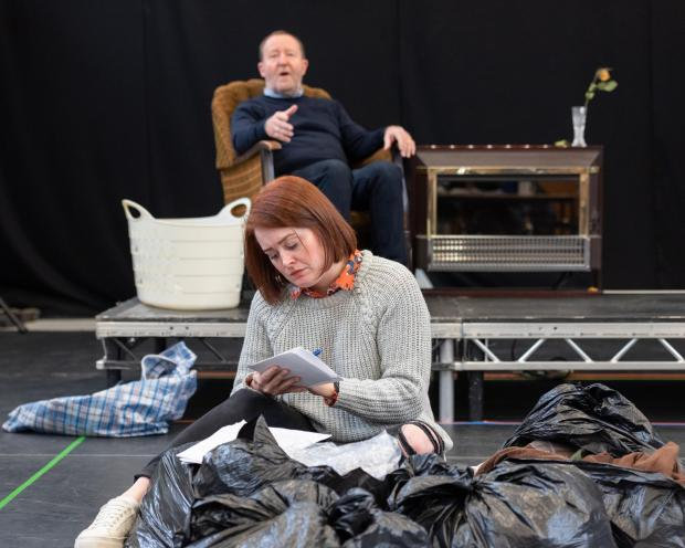 Fibres Rehearsal Image. Credit Alex Brady. Suzanne Magowan and Jonathan Watson